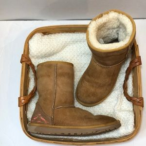 EUC UGG Fold Over Ankle Sheepskin Boots size 6